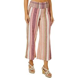 Indigo Rein Juniors Striped Linen Ankle Elastic Waist Pants