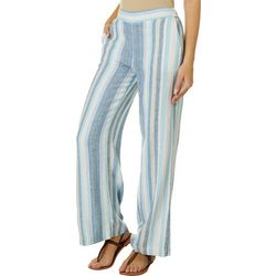 Indigo Rein Juniors Linen Striped Wide Leg Pull On Pants