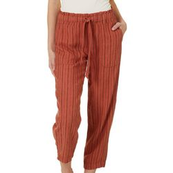 Indigo Rein Juniors Linen Striped Cropped Pants