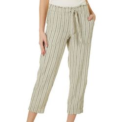 Indigo Rein Juniors Linen Natural Striped Cropped Pants