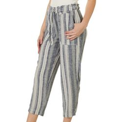 Indigo Rein Juniors Linen Grey Striped Cropped Pants