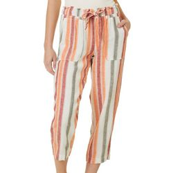 Indigo Rein Juniors Linen Multi Color Striped Cropped Pants