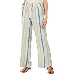 Juniors Drawstring Vertical Stripes Linen Pants