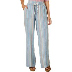 Indigo Rein Juniors Drawstring Multi Stripes Linen Pants
