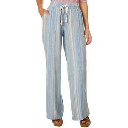 Juniors Drawstring Multi Stripes Linen Pants