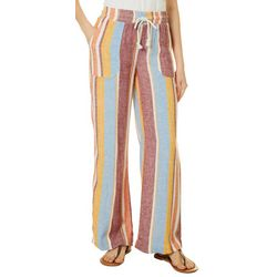 Indigo Rein Juniors Drawstring Wide Stripes Linen Pants