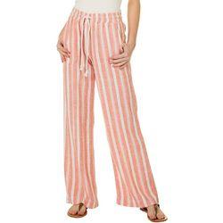 Indigo Rein Juniors Drawstring Striped Linen Beach Pants