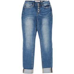 Juniors Skinny Cuffed 5-Button Jeans