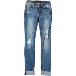 Indigo Rein Juniors Knee Destruction Cuffed Jeans