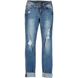 Juniors Knee Destruction Cuffed Jeans