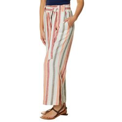 Indigo Rein Juniors Wide Striped Paperbag Waist Linen Pants