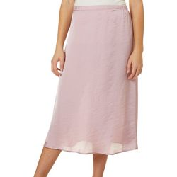 No Comment Juniors Solid Satin Pull On Skirt