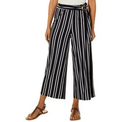 No Comment Juniors Striped Print Tie Waist Wide Leg Pants