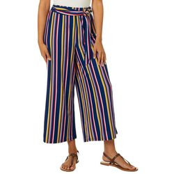 No Comment Juniors Striped Tie Waist Wide Leg Pants