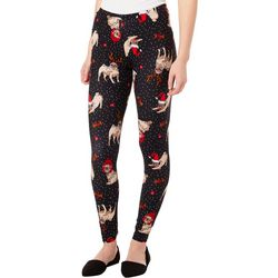 No Comment Juniors Christmas Dog Print Leggings