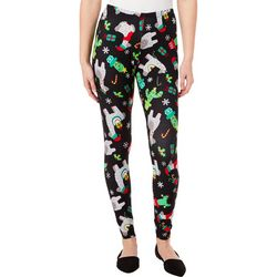 No Comment Juniors Christmas Llama Print Leggings