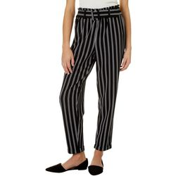 No Comment Juniors Belted Striped Wide Leg Pull On Pants