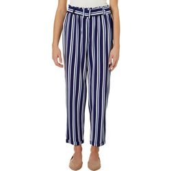 No Comment Juniors Striped Belted Wide Leg Pants