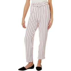No Comment Juniors Belted Striped Wide Leg Pants