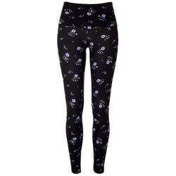 Juniors Wide Wasitband Floral Print Leggings