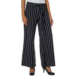 No Comment Juniors Pin Striped Tie Waist Wide Leg Pants