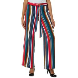No Comment Juniors Rainbow Striped Tie Waist Pull On Pants