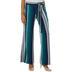 No Comment Juniors Mixed Striped Tie Waist Wide Leg Pants