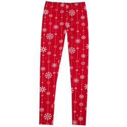 No Comment Juniors Christmas Snowflake Leggings