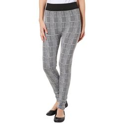 No Comment Juniors Plaid Solid Band Leggings