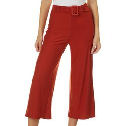No Comment Juniors Solid Belted Wide Leg Pants