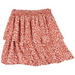 No Comment Juniors Elastic Waist Layered Skirt