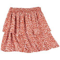 Juniors Elastic Waist Layered Skirt