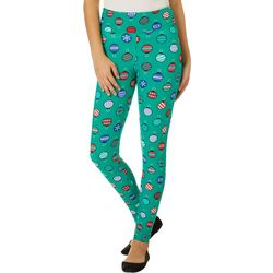 Derek Heart Juniors Green Christmas Ornament Leggings