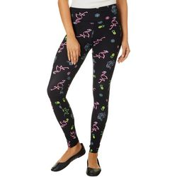 Derek Heart Juniors Holiday Neon Icon Print Leggings