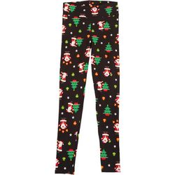 Juniors Xmas Tree & Santa Print Leggings