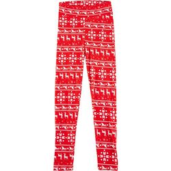 Juniors Striped Christmas Leggings