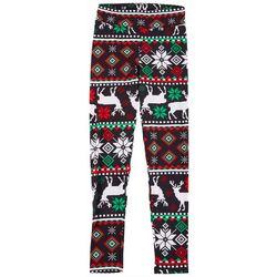 Derek Heart Juniors Striped Christmas Reindeer Leggings