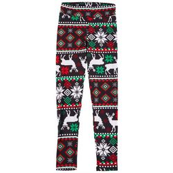 Juniors Striped Christmas Reindeer Leggings