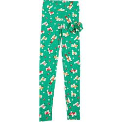 Juniors Xmas Llama Print Leggings & Hair tie