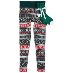 Juniors Xmas Striped Leggings & Socks