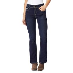 Juniors Embroidered Pocket Denim Jeans