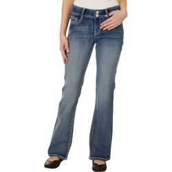 Wallflower Juniors Primetime Embroidered Pocket Denim Jeans