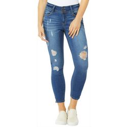 Wallflower Juniors Destructed Zip Hem Ankle Jeans