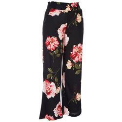Juniors High Rise Roses Wide Pants