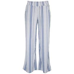 Juniors High Rise Striped Wide Pants