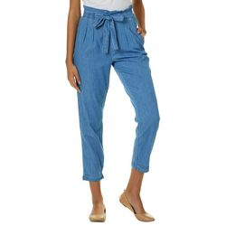 Almost Famous Juniors Chambray Tie Waist Pull On Pants