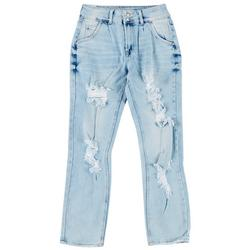 Juniors 2-Button Distressed Mom Jeans