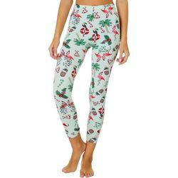 Full Circle Trends Juniors Holiday Flamingo Print Leggings