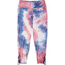 Full Circle Trends Juniors Tie Dye Lattice Leggings