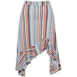 Full Circle Trends Juniors Stripe Ruffle Trim Skirt